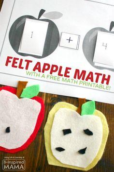 Felt Apple Theme Math Activity Idea + Free Math Printable - Perfect for Homeschool Kindergarten or First Grade at B-Inspired Mama