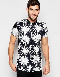ASOS Shirt With Monochrome Flower Print In Regular Fit