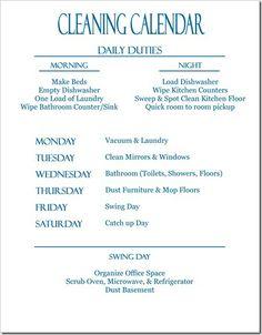 Cleaning Calendar ~ Calendario de limpieza.