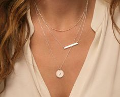 I'm loving the layered necklace look these days! Skinny Bar Layer Necklace Set / Small Silver or by LayeredAndLong
