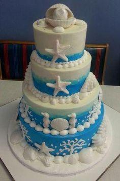 Sea-themed wedding cake