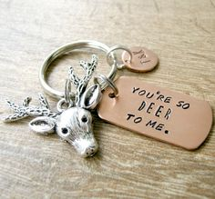 You're so Deer to Me Keychain Deer keychain by riskybeads on Etsy