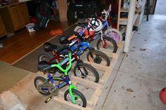 Simple diy kids bicycle rack with helmet storage bicycle rack diy garage bike rack solutioingenieria Images