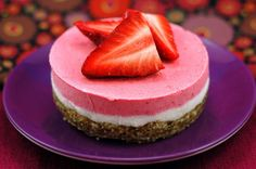 """Raw, vegan strawberry """"cheesecake.""""  I have to try this soon!  Yum!"""