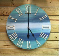 Large Round Wood Beach Wall Beach Clock  30 by BeachWallDecor