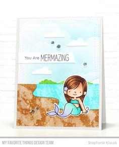 Mermazing Stamp Set and Die-namics, Beach Scene Builder Die-namics, Wonky Stitched Rectangle STAX Die-namics - Stephanie Klauck #mftstamps