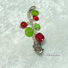 Handbag Charm with Rose Charm, Red and Green Purse Charm, Keychain Charms, Free UK Postage, C0017 by SeaWitchsCavern on Etsy