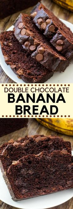 This double chocolate banana bread is moist and tender with a delicious double dose of chocolate. It's a super easy recipe, and the perfect way to switch up your favorite banana bread. #bananas #bananabread #doublechocolate #chocolatebananabread #quickbreads #recipes #chocolatebananabread