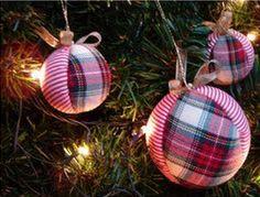 insieme creare: Come fare palle di Natale con vecchia stoffa - Tut...