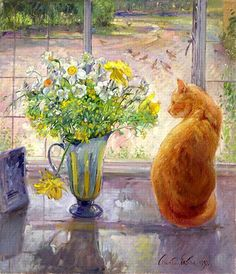 Timothy Easton Striped Jug with Spring Flowers Art Print for sale. Transform your space with nice Striped Jug with Spring Flowers Art Print at payable price. Art Floral, Art Mur, Painting Prints, Art Prints, Framed Prints, Canvas Art, Canvas Prints, Big Canvas, Painting Canvas