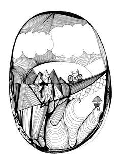 "Pen & Ink Artwork - ""Over the Hills"" by Virginia Kraljevic"