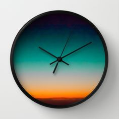 Blue and Yellow Magic Dawn in the Sky Wall Clock