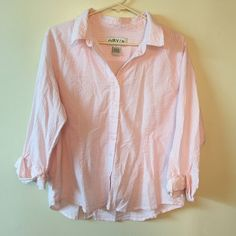 Orvis large cotton pink & white button down shirt In great condition Orvis Tops Button Down Shirts