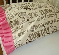 Toddler Bedding Pillow Case / Sham Cowboy, Cowgirl Print with Pink Ruffles. $18.50, via Etsy.