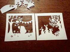 Template à decouper - herisson et lapin/Papercut DIY design bunny and hedgehog