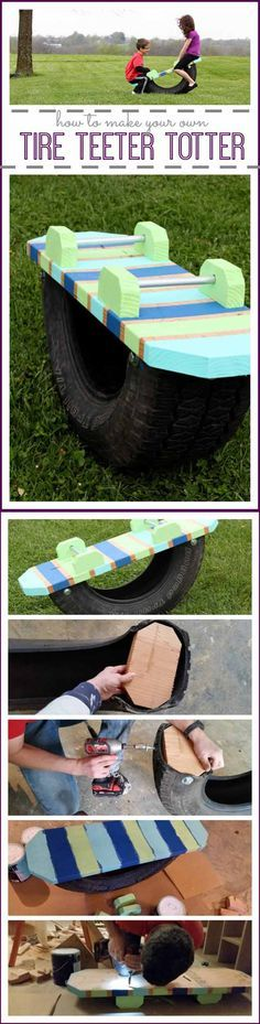 Tire Teeter Toter | 17 Easy DIY Backyard Project Ideas | Easy, Simple and Cheap Backyard Ideas You Must Try This Summer! Check it out at  http://diyready.com/easy-backyard-projects/