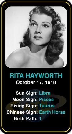 Celeb #Libra birthdays: Rita Hayworth's astrology info! Sign up here to see more: astroconnects.com #astrology #horoscope #zodiac #birthchart #natalchart #ritahayworth