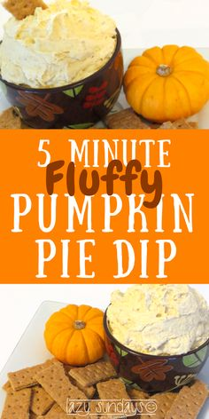 5 Minute Pumpkin Pie Dip - Need a fast and delicious snack idea? This is a light and fluffy sweet dip, perfect for all of those fall gatherings.