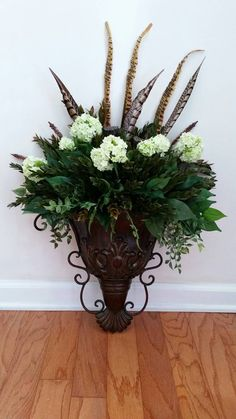 Floral wall sconce wall pocket wall planter shipping included wall sconce greenery floral arrangement silk flowers ferns mightylinksfo Image collections