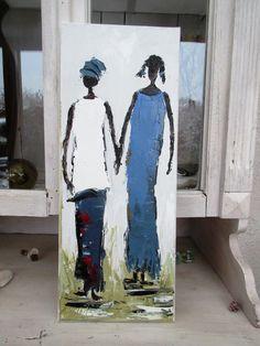 Jardin De Femmes 2 : Peinture figurative : peinture à l'huile au couteau sur toile ... : Peintures par les-reves-de-minsy