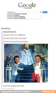 I don't...I can't...what..?<<< Nobody understands, my dear, not even the people in their fandoms. (Actually, I understand tom hiddleston as a prince)<<And why Dean is a princess