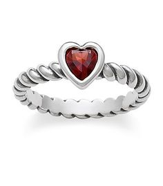 Heart with Garnet Twisted Wire Ring | James Avery