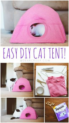 DIY Cat Tent Tutorial from Dear Crissy.This DIY Cat Tent is a cheap and easy refuge to make refuge for your cat. Take a few hangers, duct tape and a tee shirt to make your cat a tent. For more Pet DIYs (beds, bow ties, scarves, etc…) go here:. Cat Crafts, Animal Crafts, Decor Crafts, Kids Crafts, Diy Simple, Easy Diy, Fun Diy, Lit Chat Diy, Diy Old Tshirts