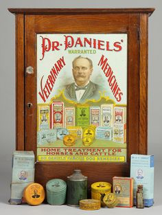 Store Display Veterinary Medicine Cabinet with original tin Lithograph on front