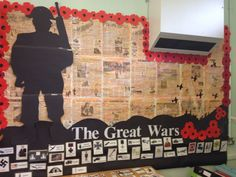 My great world wars display ready to add to! English Classroom Displays, School Library Displays, Class Displays, Ww1 Display, World War 2 Display, Display Ideas, Display Boards, Remembrance Day Activities, Remembrance Day Art