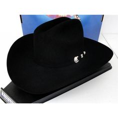 6305f3027d7 Resistol Cowboy Hat 4X Beaver Fur Felt Black Hallmark George Strait