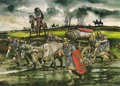 Y como no sólo de la guerra vive el romano, aquí podemos contemplar a unos legionarios muy atareados en transportar lo que debemos suponer un tonel repleto de vino, con una estupenda escolta para custodiar tal tesoro, como debe de ser... Más en www.elgrancapitan.org/foro