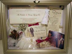 Wedding Shadow Box...invitation, vows, veil, flowers, garter, wine glasses, unity candle, etc...