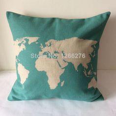 """1PCS 17""""x17"""" Vintage World Map Cotton Linen Sofa Decoration Car Decoration Throw Pillow Cushion Cover  Home Decor 0867"""