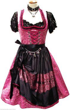 "Traum Dirndl "" Delilah"" m. charivari NEU schwarz pink Mididirndl 34 40 42 | eBay"