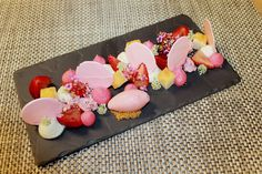 Deconstructed Strawberry Shortcake -Creme Fraiche, Strawberry Meringue, Pound Cake, Compressed Strawberries, Greek Yogurt Strawberry Sorbet, Strawberry Fizzy and Foam by Pastry Chef Antonio Bachour, via Flickr