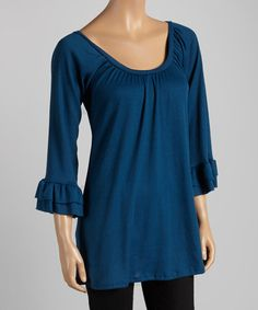 Take a look at this Blue Pleated Swing Top by Casalee on #zulily today!