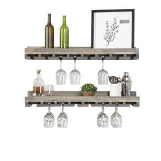 Trent Austin Design® Bernardo Solid Wood Wall Mounted Wine Glass Rack & Reviews | Wayfair Wine Glass Shelf, Wine Glass Rack, Glass Shelves, Wine Racks, Floating Shelves, Tabletop, Rustic Luxe, Rustic Style, Compact Kitchen