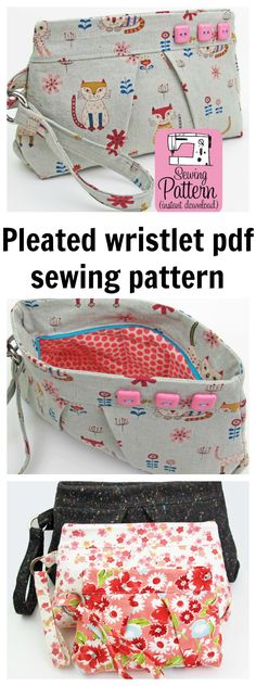 Make this pleated wristlet clutch handbag (with a concealed zipper) using this PDF sewing pattern.