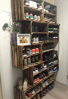 Easy DIY Shoe Rack Ideas You Can Build on a Budget - Love the idea for shoe storage rack using rustic crates # Easy DIY storage 62 Easy DIY Shoe Rack Storage Ideas You Can Build on a Budget Laundry Room Storage, Bedroom Storage, Garage Storage, Bedroom Decor, Storage Shelves, Ikea Bedroom, Wooden Shoe Storage, Shoe Shelves, Crate Shelves