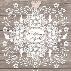 Premium VECTOR Lace border rustic Wedding by designloverstudio