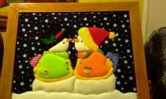 Imagen cuadro en patchwork sin aguja - grupos. Patchwork Patterns, Applique Patterns, Felt Crafts, Christmas Crafts, Diy Crafts, Quilting, Small Quilts, Quilt Blocks, Snowman