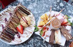 Chocolate heaven at Choccywoccydoodah, Soho. chocolate fondue with strawberries, rocky road cake, honey comb, marshmallows and epic chocolate layer cake!