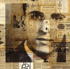 Collage Portraits of Michelle Caplan great use of interesting material with printing or drawing.have you ever been in the newspaper? Art Du Collage, Collage Portrait, Collage Artists, Mixed Media Collage, Painting Portraits, Paintings, Collages, Mixed Media Photography, Fine Art Photography