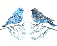 Azul pareja de aves / / venta 3 para 2 / / dos pájaros en las ramas de impresión, tamaño 10 x 8 (Nº 7)