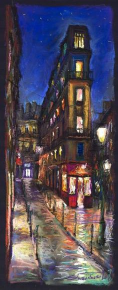Paris Old Street by Yurity Shevchuk - Impressionism - pastel