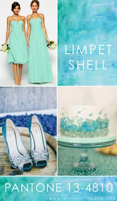 Pantone - Limpet Shell 13-4810    Calming, carefree, and absolutely dreamy, Limpet Shell is the kind of color that works so nicely with similar shades of blue and green. Mint, turquoise, sea glass, the options are really endless and when you mix in a variety of similar shades, you really can't go wrong! Perfect for beach weddings or ocean themed weddings, there's no denying my love for this amazing color.