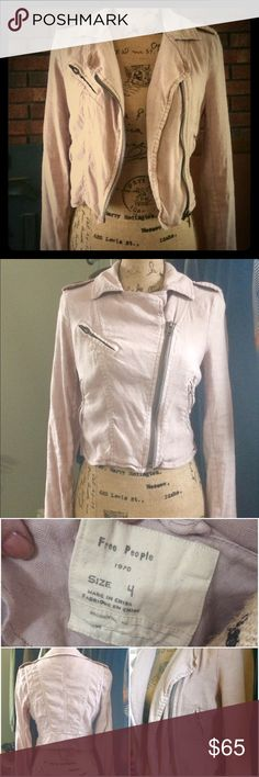 Blush Pink Free People Moto Jacket Adorable light blush pink moto jacket from Free People.  Size 4.  Light weight, classic Free People distressed look.  This jacket is too cute-a must have for spring! Free People Jackets & Coats