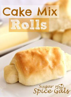 "Cake Mix Dinner Rolls  1 (9 oz.) pkg. ""Jiffy"" Yellow Cake Mix 1 (.25 oz.) active dry yeast package 1½ cups warm water 3¼ cups all purpose flour ¼ cup butter, melted (to brush on rolls)"