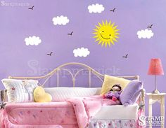Sun wall decal - sky decal with clouds and birds - Vinyl Wall Decal Wall Mural - K034