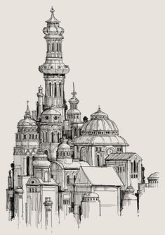 Today's challenge was to create some architecture based on Russian churches. Architecture Drawing Sketchbooks, Architecture Concept Drawings, Architecture Art, Renaissance Architecture, Pencil Art Drawings, Cool Art Drawings, Perspective Drawing, Urban Sketching, Pics Art